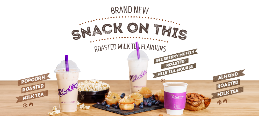 Brand New - Snack on this. Roasted Milk Tea Flavours. Popcorn Roasted Milk Tea, Blueberry Muffin Roasted Milk Tea, Almond Roasted Milk Tea