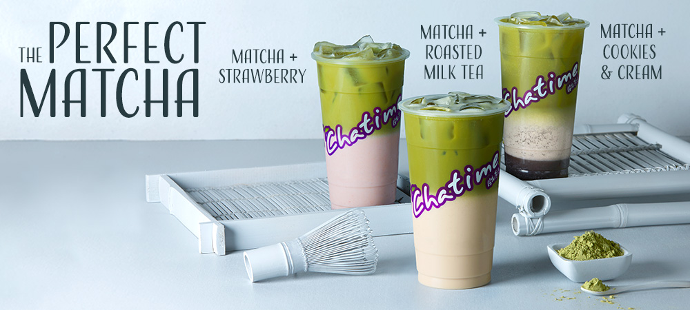 The Perfect Match. Matcha + Strawberry, Matcha + Roasted Milk Tea, Matcha + Cookies & Cream. Limited time only