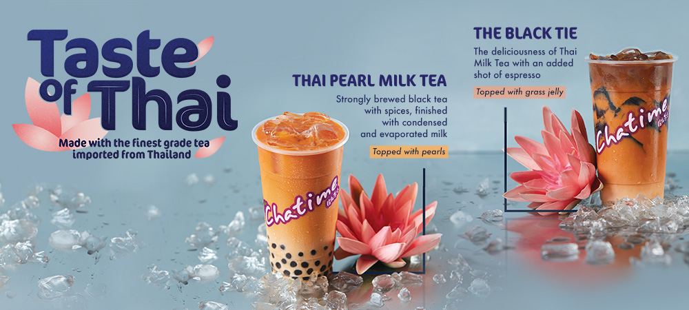 Taste of Thai. Made with the finest grade tea imported from Thailand. Thai Peral Milk Tea - strongly brewed black tea with spices, finished with condensed and evaporated milk (Topped wiht pearls). The Black Tie - The deliciousness of tHai Milk Tea with an added short of espresso (Topped with grass jelly)