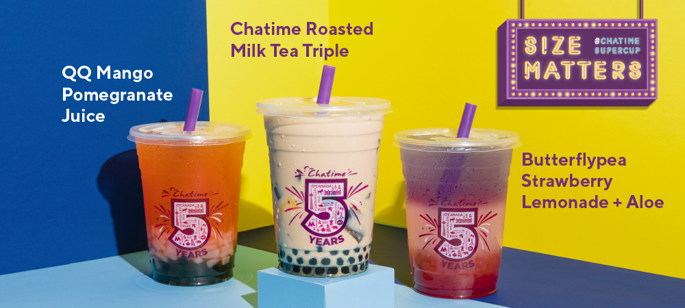 Size Matters - Chatime Supercup. QQ Mango Pomegranate Juice, Chatime Roasted Milk Tea Triple, Butterflypea Strawberry Lemonade + Aloe
